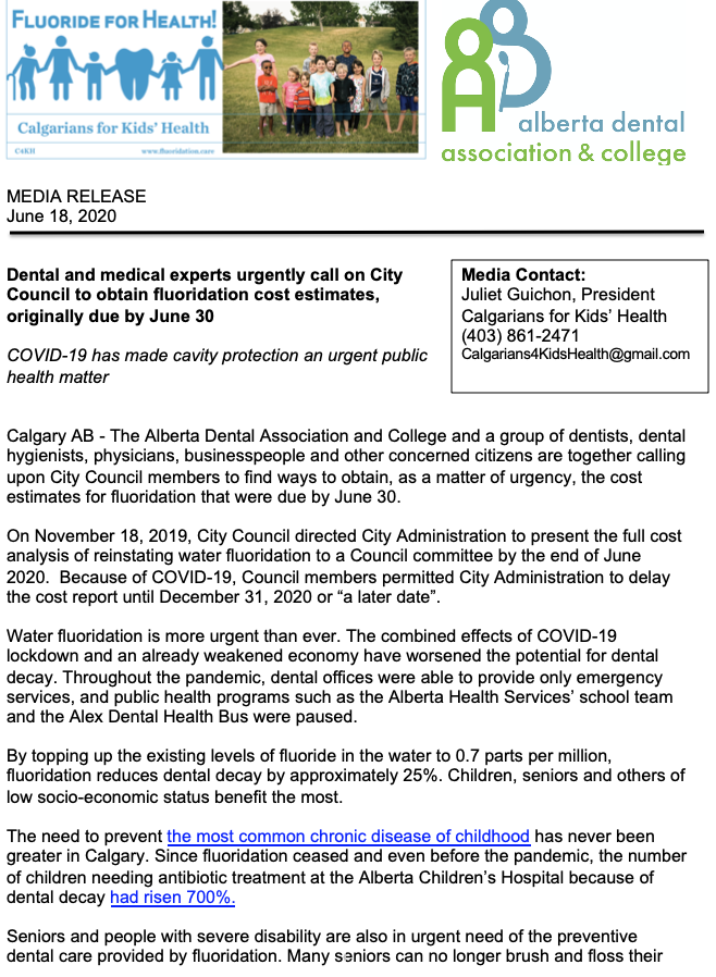 Media release by Calgarians for Kids' Health (C4KH) and the Alberta Dental Association and College(ADAC)